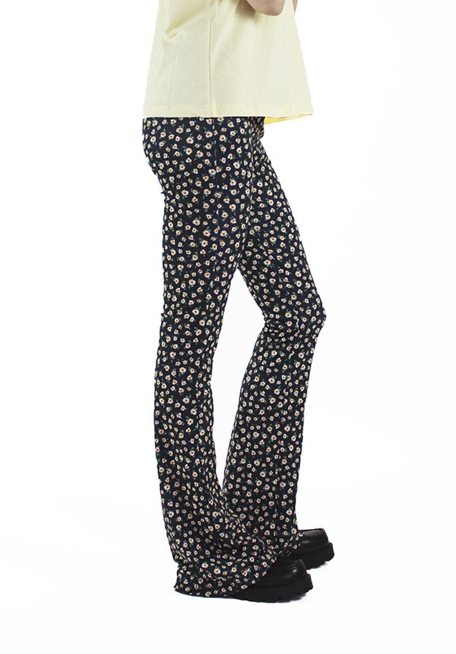 Flared pants - zwart met bloemen print - zijkant