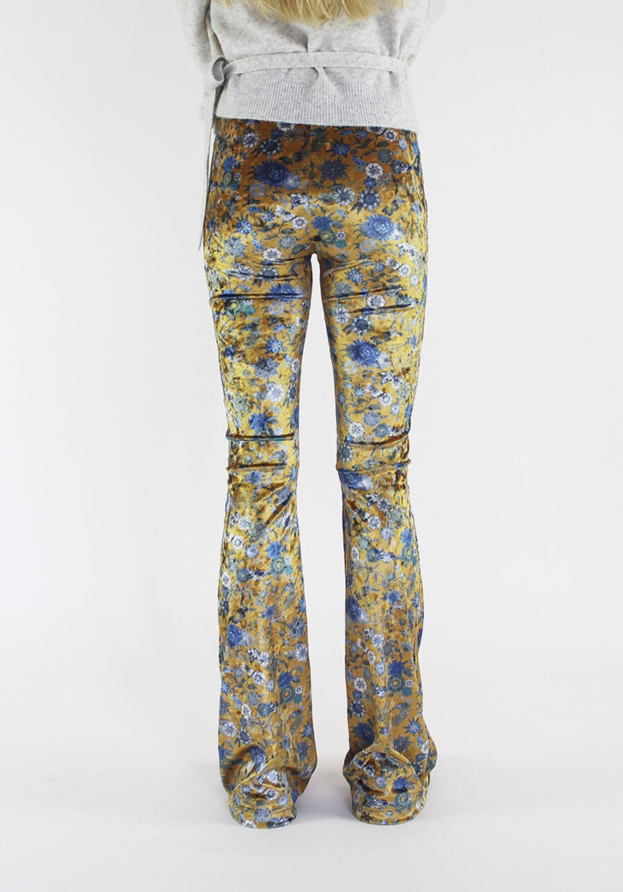 Velvet flared pants met bloemen - goud - achterkant