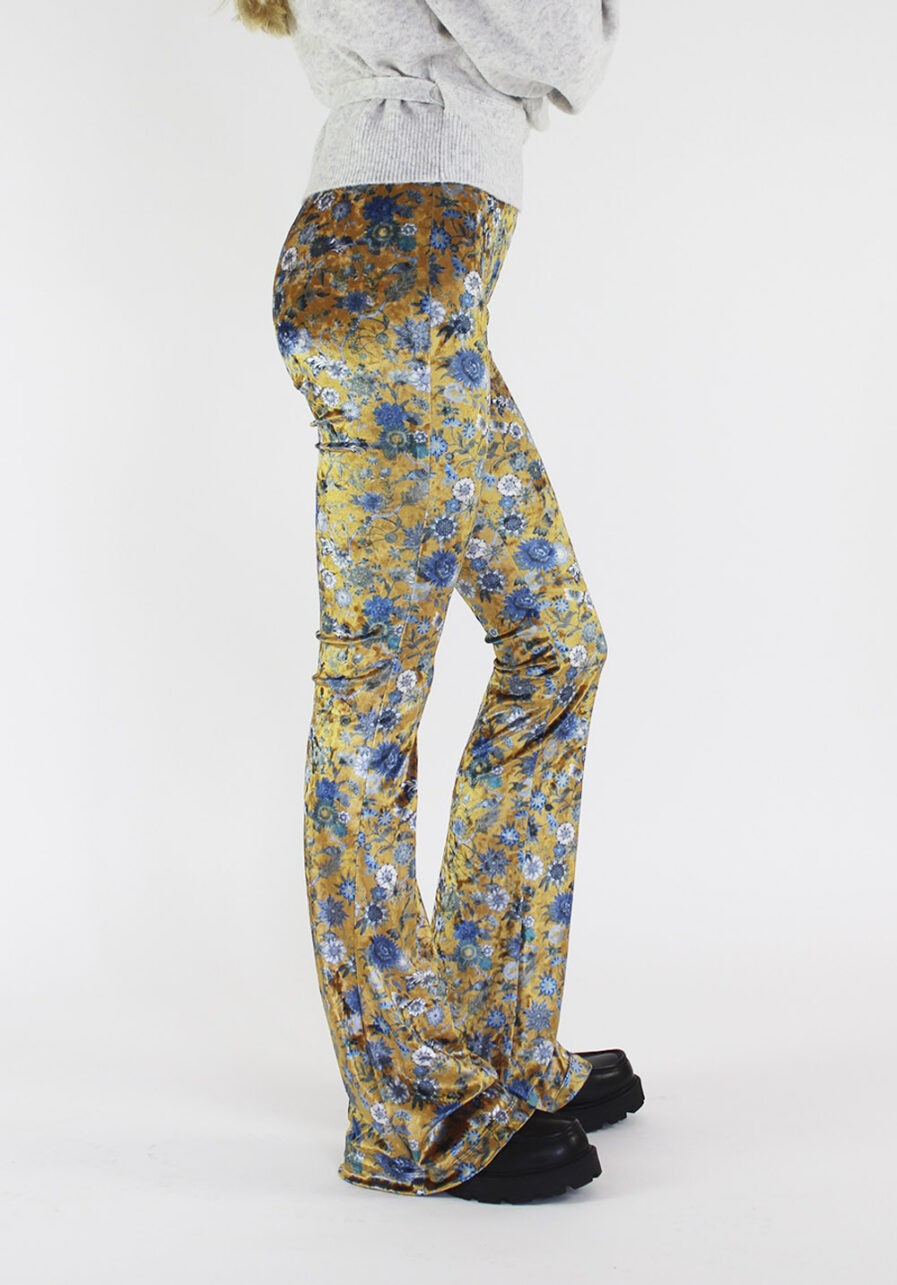 Velvet flared pants met bloemen - goud - zijkant
